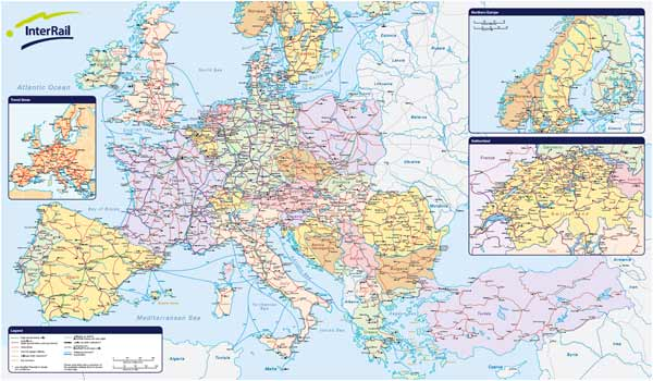 Europe Interrail Map